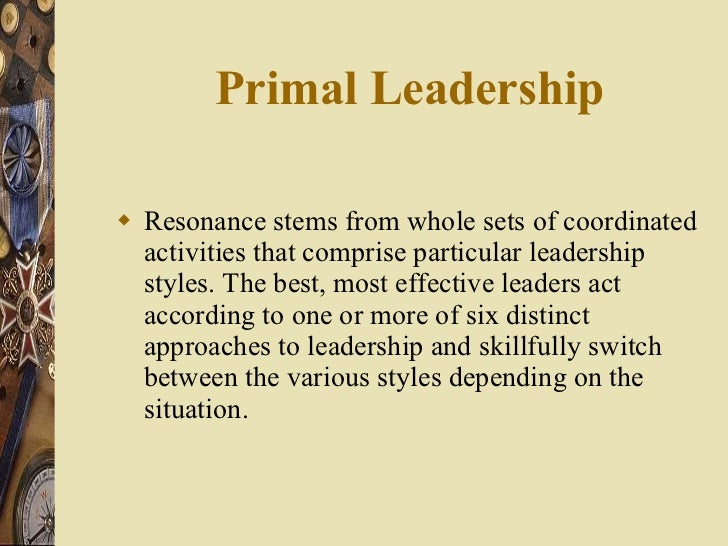 Primal Leadership <ul><li>Resonance stems from whole sets of coordinated activities that comprise particular leadership st...