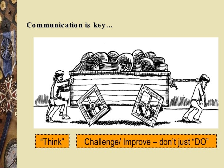 """Communication is key… """" Think"""" Challenge/ Improve – don't just """"DO"""""""