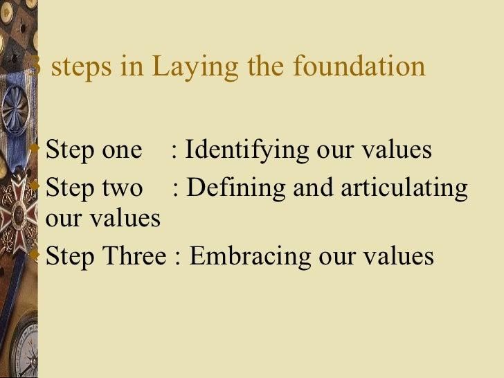 3 steps in Laying the foundation <ul><li>Step one  : Identifying our values </li></ul><ul><li>Step two  : Defining and art...