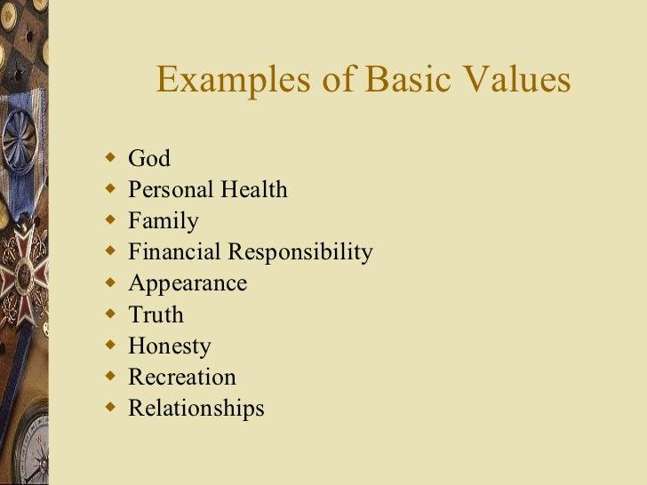 Examples of Basic Values <ul><li>God </li></ul><ul><li>Personal Health </li></ul><ul><li>Family </li></ul><ul><li>Financia...