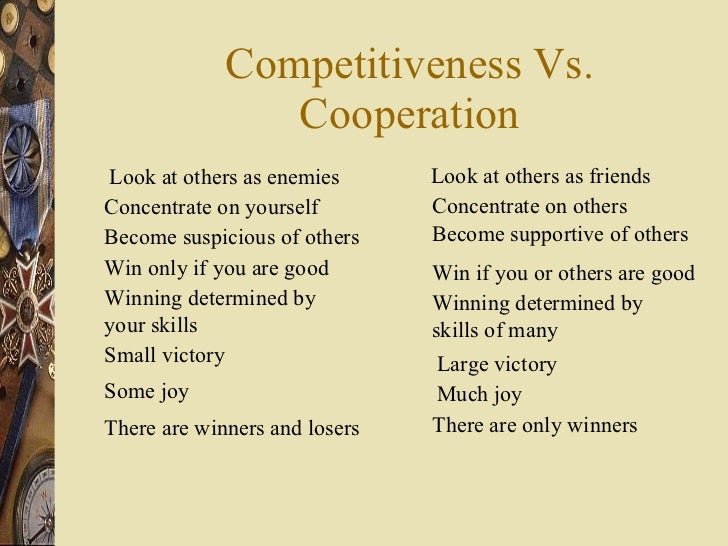 Competitiveness Vs. Cooperation Look at others as enemies Concentrate on yourself Become suspicious of others Win only if ...