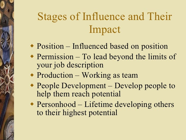 Stages of Influence and Their Impact <ul><li>Position – Influenced based on position </li></ul><ul><li>Permission – To lea...