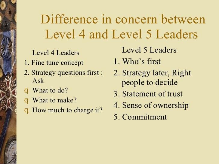 Difference in concern between Level 4 and Level 5 Leaders  <ul><li>Level 4 Leaders </li></ul><ul><li>1. Fine tune concept ...