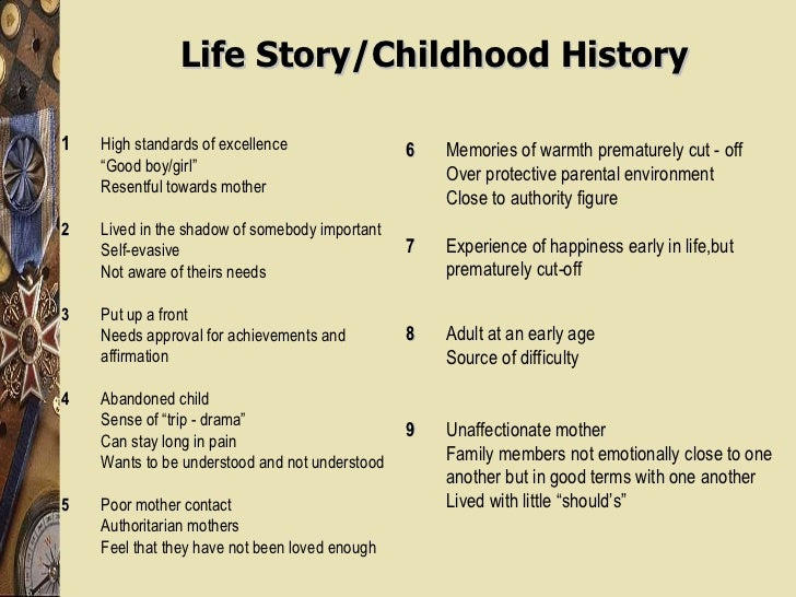 """Life Story/Childhood History 1 High standards of excellence """" Good boy/girl"""" Resentful towards mother 2 Lived in the shado..."""