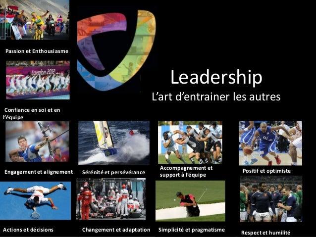 Confiance en soi et en l'équipe Engagement et alignement Actions et décisions Sérénité et persévérance Leadership L'art d'...
