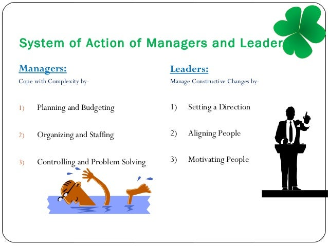 compilation of leader vs manager Being a manager and being a leader are two different things in the corporate world, they are vastly different jobs that require different skill sets yes, there are similarities, and it is hard to be considered a good manager without leadership capabilities but being a manager doesn't mean you have the inherent.
