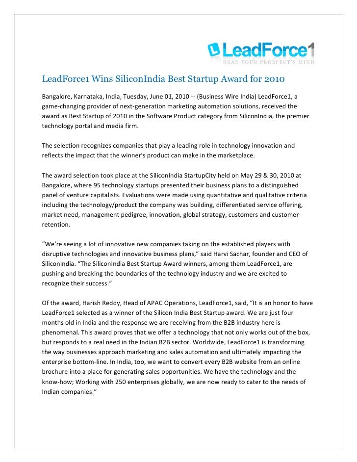 LeadForce1 Wins SiliconIndia Best Startup Award for 2010 Bangalore, Karnataka, India, Tuesday, June 01, 2010 -- (Business ...