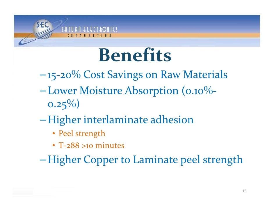 Benefits – 15‐20%CostSavingsonRawMaterials – LowerMoistureAbsorption(0 10%‐   LowerMoistureAbsorption(0.10%   0...