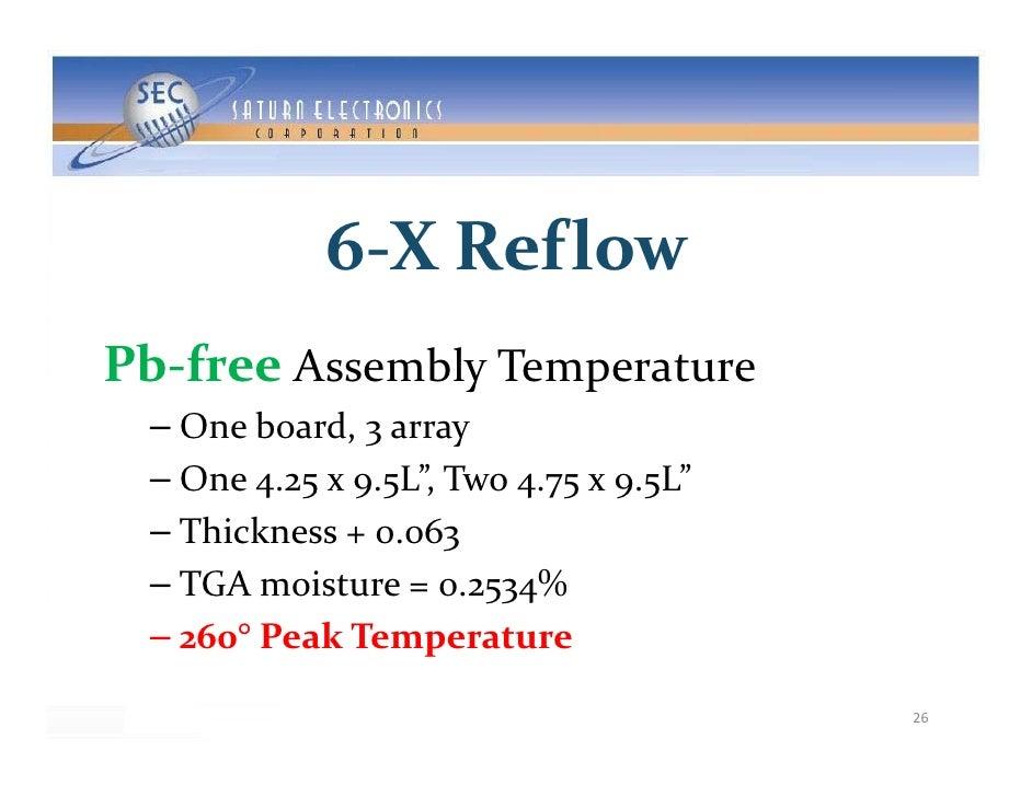 6‐XReflow              6 XReflow Pb‐free AssemblyTemperature Pb f         bl   – Oneboard,3array   – One4.25x9.5L...