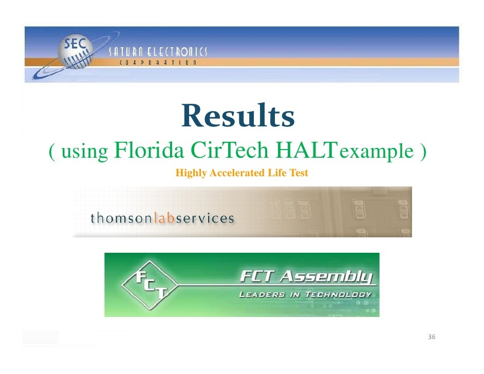 Results ( using Florida CirTech HALT example )             Highly Accelerated Life Test                                   ...