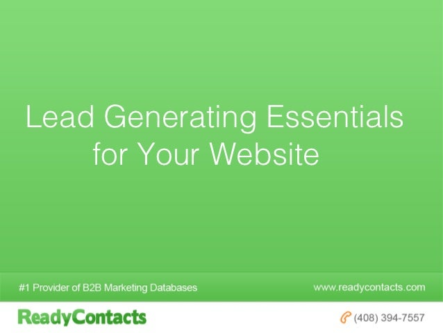 Lead Generating Essentials    for Your Website