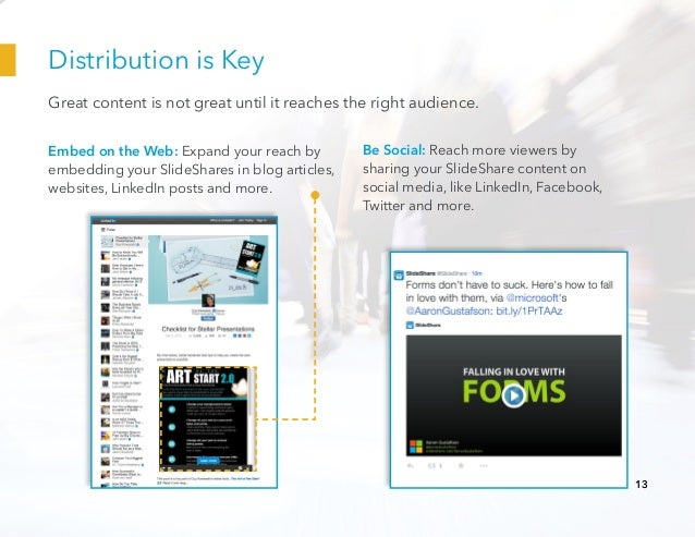 Distribution is Key Embed on the Web: Expand your reach by embedding your SlideShares in blog articles, websites, LinkedIn...