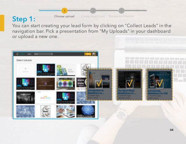 """Step 1: You can start creating your lead form by clicking on """"Collect Leads"""" in the navigation bar. Pick a presentation fr..."""