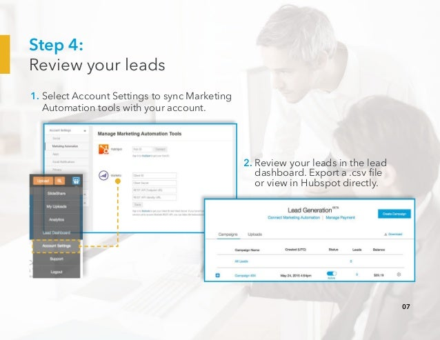 Step 4: Review your leads 1. Select Account Settings to sync Marketing Automation tools with your account. 2. Review your ...