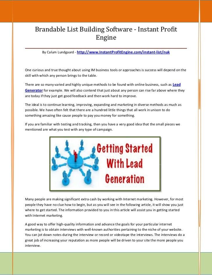 Brandable List Building Software - Instant Profit                           Engine________________________________________...