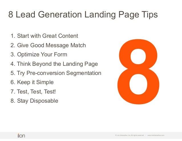 8 Lead Generation Landing Page Tips Slide 2