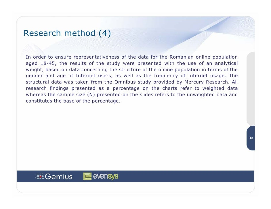 Research method (4)  In order to ensure representativeness of the data for the Romanian online population aged 18-45, the ...