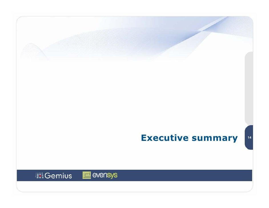 Executive summary   14
