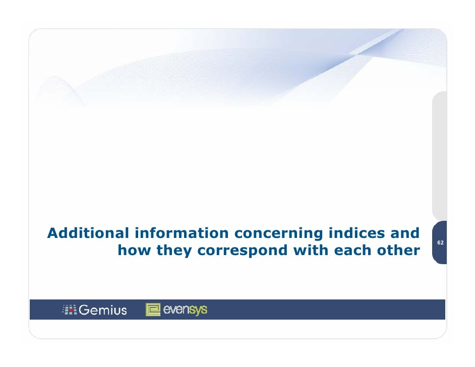 Additional information concerning indices and   62         how they correspond with each other