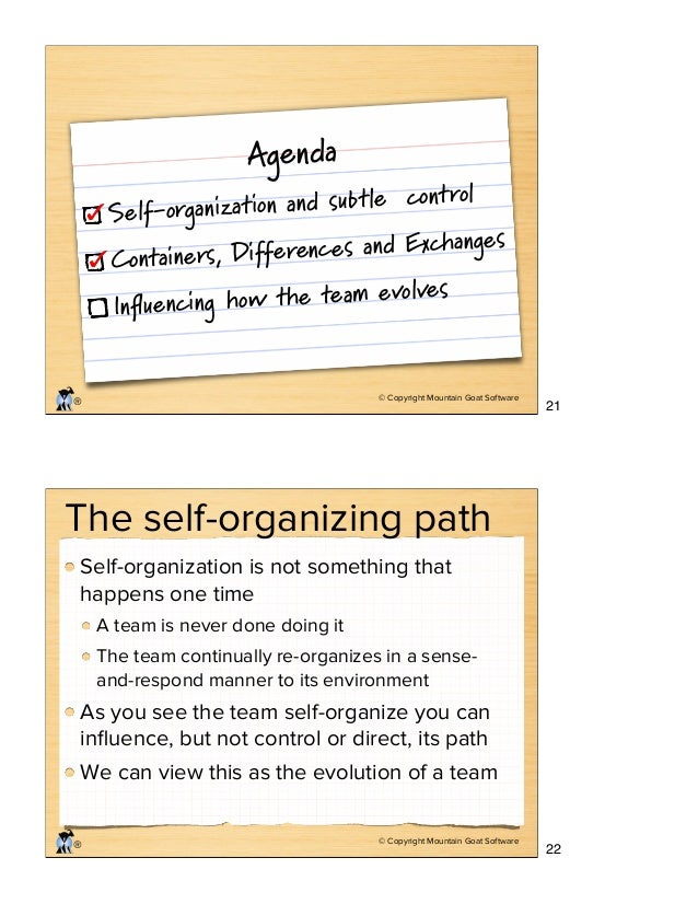 © Copyright Mountain Goat Software ® Agenda Self-organization and subtle control Containers, Differences and Exchanges Infl...