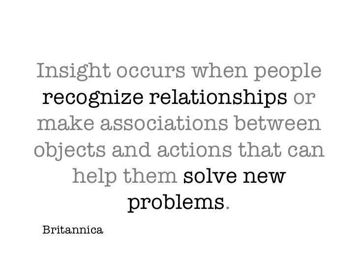 Insight occurs when people  recognize relationships  or make associations between objects and actions that can help them  ...
