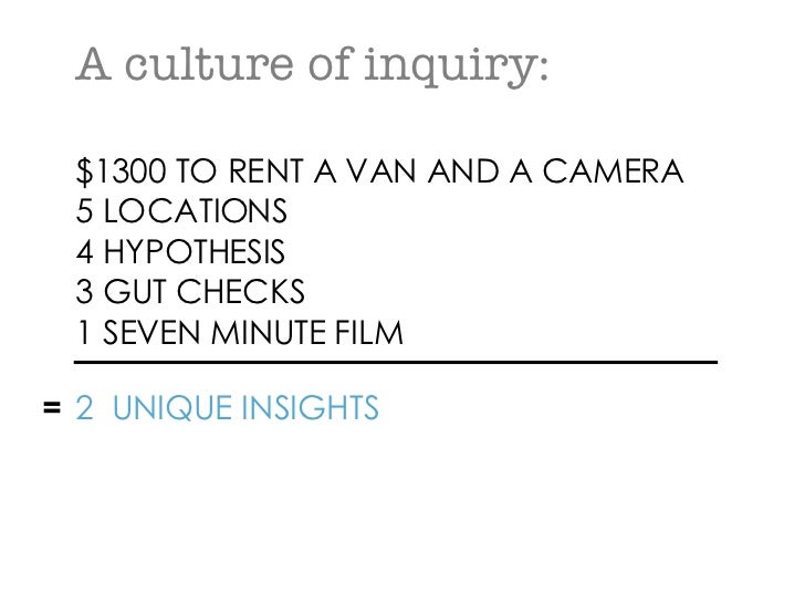 A culture of inquiry: $1300 TO RENT A VAN AND A CAMERA 5 LOCATIONS 4 HYPOTHESIS 3 GUT CHECKS 1 SEVEN MINUTE FILM   = 2  UN...