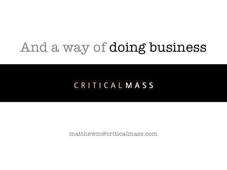 And a way of doing business [email_address]