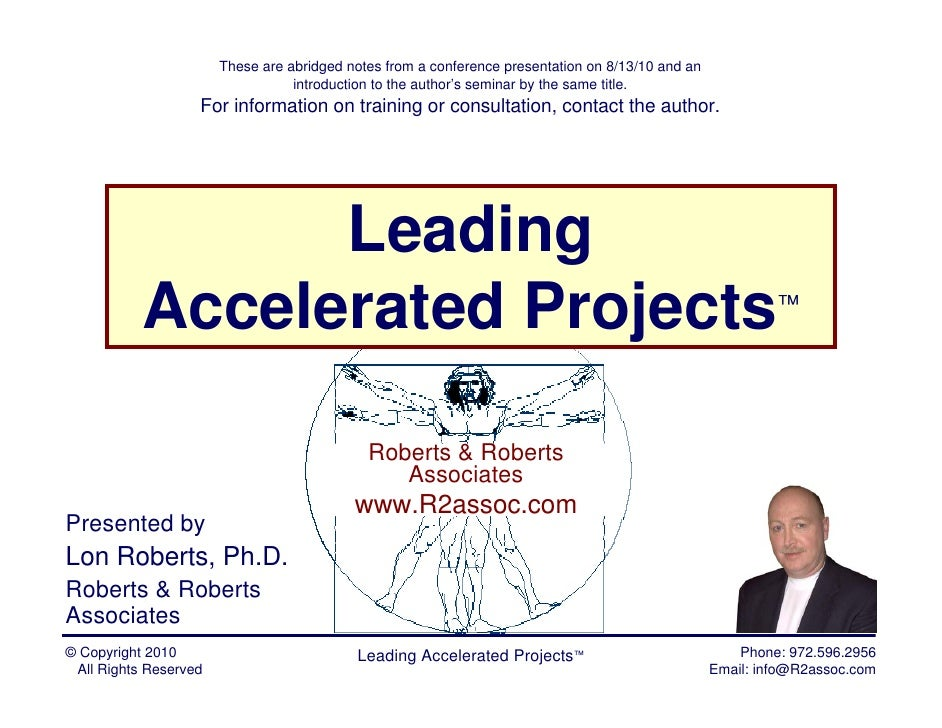 Leading Accelerated Projects