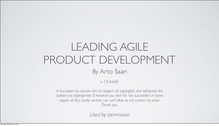 LEADING AGILE                              PRODUCT DEVELOPMENT                                                      By Art...
