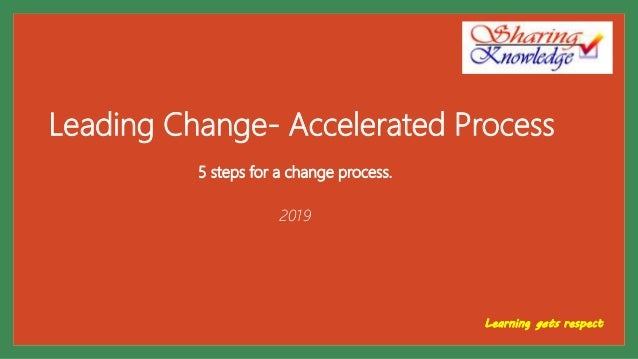 Leading Change- Accelerated Process 5 steps for a change process. 2019 Learning gets respect
