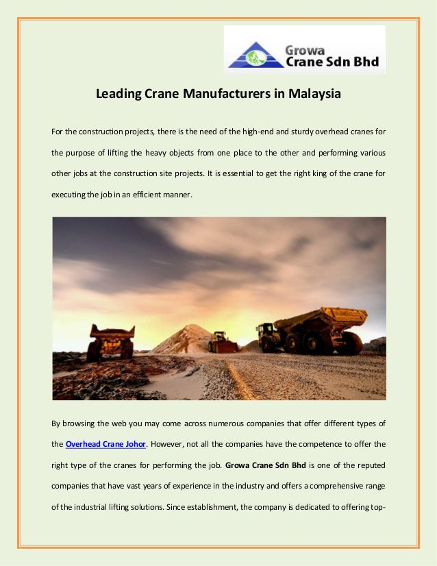Leading Crane Manufacturers in Malaysia