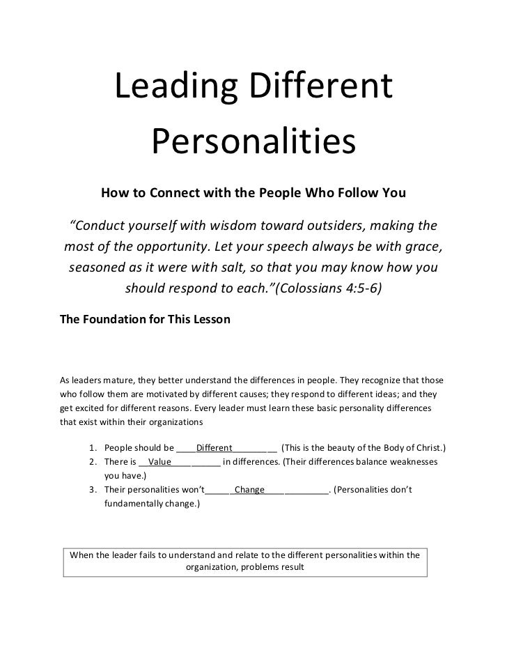 """Leading Different               Personalities          How to Connect with the People Who Follow You """"Conduct yourself wit..."""