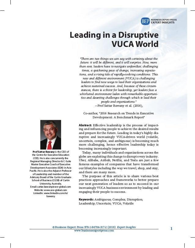 1©Business Expert Press 978-1-94784-317-2 (2018) Expert Insights www.businessexpertpress.com 1 Leading in a Disruptive VU...