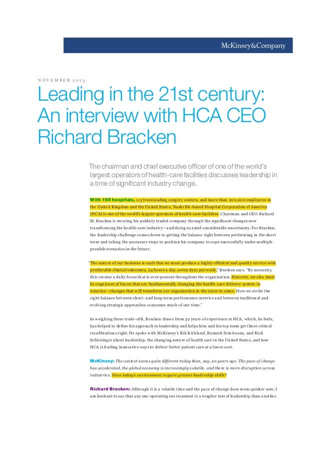NOVEMBER 2013  Leading in the 21st century: An interview with HCA CEO Richard Bracken The chairman and chief executive off...