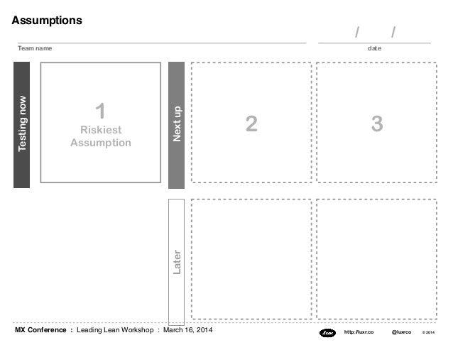 MX Conference : Leading Lean Workshop : March 16, 2014 http://luxr.co @luxrco © 2014 Assumptions 1 Riskiest Assumption Tes...