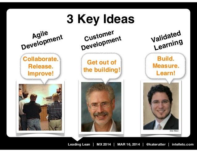 Leading Lean   MX 2014   MAR 16, 2014   @katerutter   intelleto.com 3 Key Ideas Build. Measure. Learn! Validated Learning ...