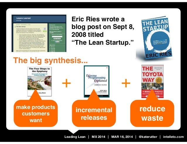 "Leading Lean | MX 2014 | MAR 16, 2014 | @katerutter | intelleto.com Eric Ries wrote a blog post on Sept 8, 2008 titled ""Th..."