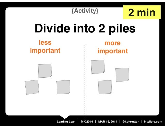 Leading Lean | MX 2014 | MAR 16, 2014 | @katerutter | intelleto.com more important less important {Activity} Divide into 2...