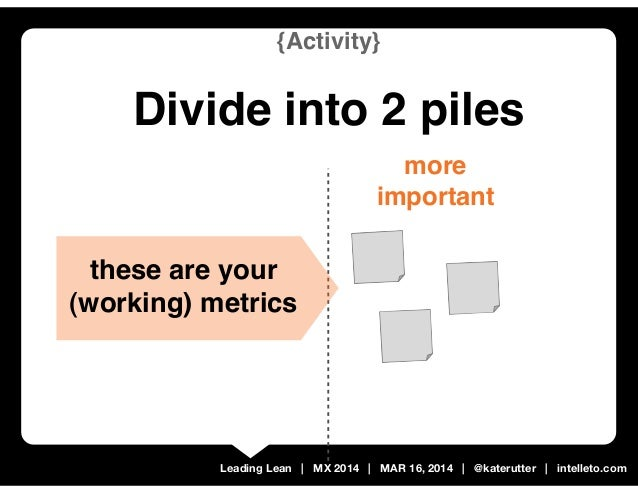 Leading Lean | MX 2014 | MAR 16, 2014 | @katerutter | intelleto.com more important {Activity} Divide into 2 piles these ar...
