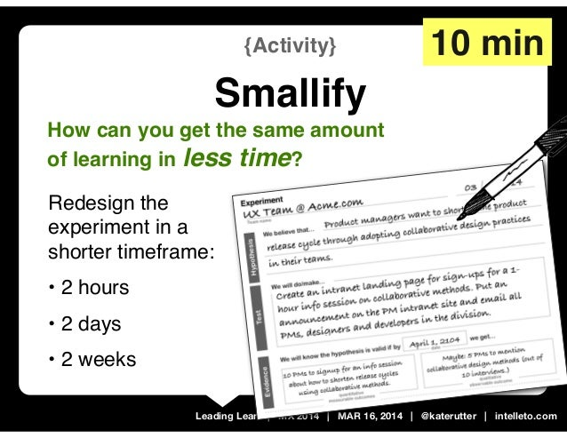 Leading Lean   MX 2014   MAR 16, 2014   @katerutter   intelleto.com {Activity} Smallify 10 min How can you get the same am...