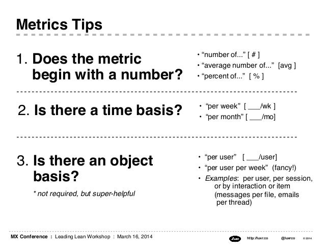 """MX Conference : Leading Lean Workshop : March 16, 2014 http://luxr.co @luxrco © 2014 3. Is there an object basis? • """"per u..."""