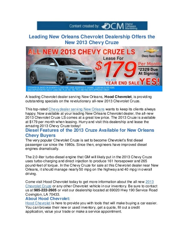 Chevy Cruze Diesel For Sale >> Leading New Orleans Chevrolet Dealership Offers The New 2013