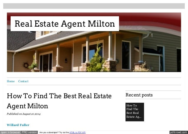 Real Estate Agent Milton  Home Contact  How To Find The Best Real Estate  Agent Milton  Published on August 21 2014  Willa...