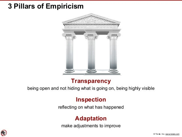 © Torak, Inc. www.torak.com 3 Pillars of Empiricism Transparency being open and not hiding what is going on, being highly ...
