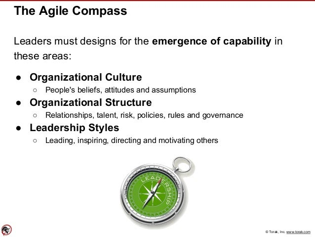 © Torak, Inc. www.torak.com The Agile Compass Leaders must designs for the emergence of capability in these areas: ● Organ...