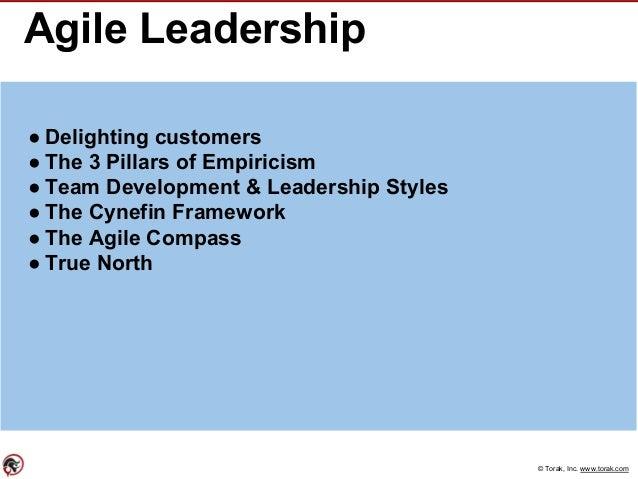 © Torak, Inc. www.torak.com Agile Leadership ● Delighting customers ● The 3 Pillars of Empiricism ● Team Development & Lea...