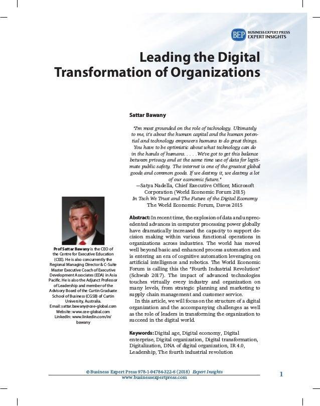 11©Business Expert Press 978-1-94784-322-6 (2018) Expert Insights www.businessexpertpress.com Leading the Digital Transfo...