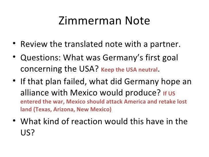 Zimmerman Note Ww1