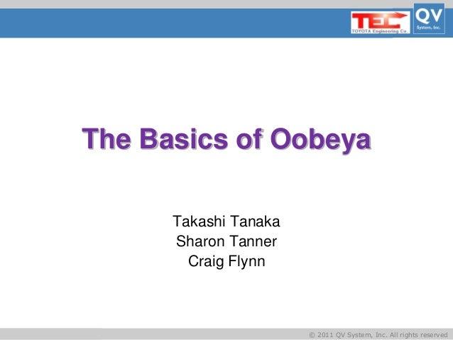 Basic Title © 2011 QV System, Inc. All rights reserved The Basics of Oobeya Takashi Tanaka Sharon Tanner Craig Flynn