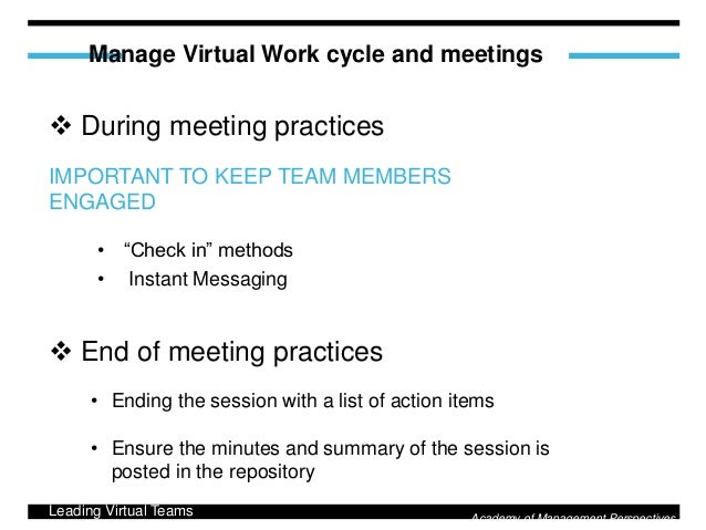 virtual team management essay I've presented papers on virtual teams at the world future society, the international leadership association, and the center for the study of work teams and strategic planning and technology.